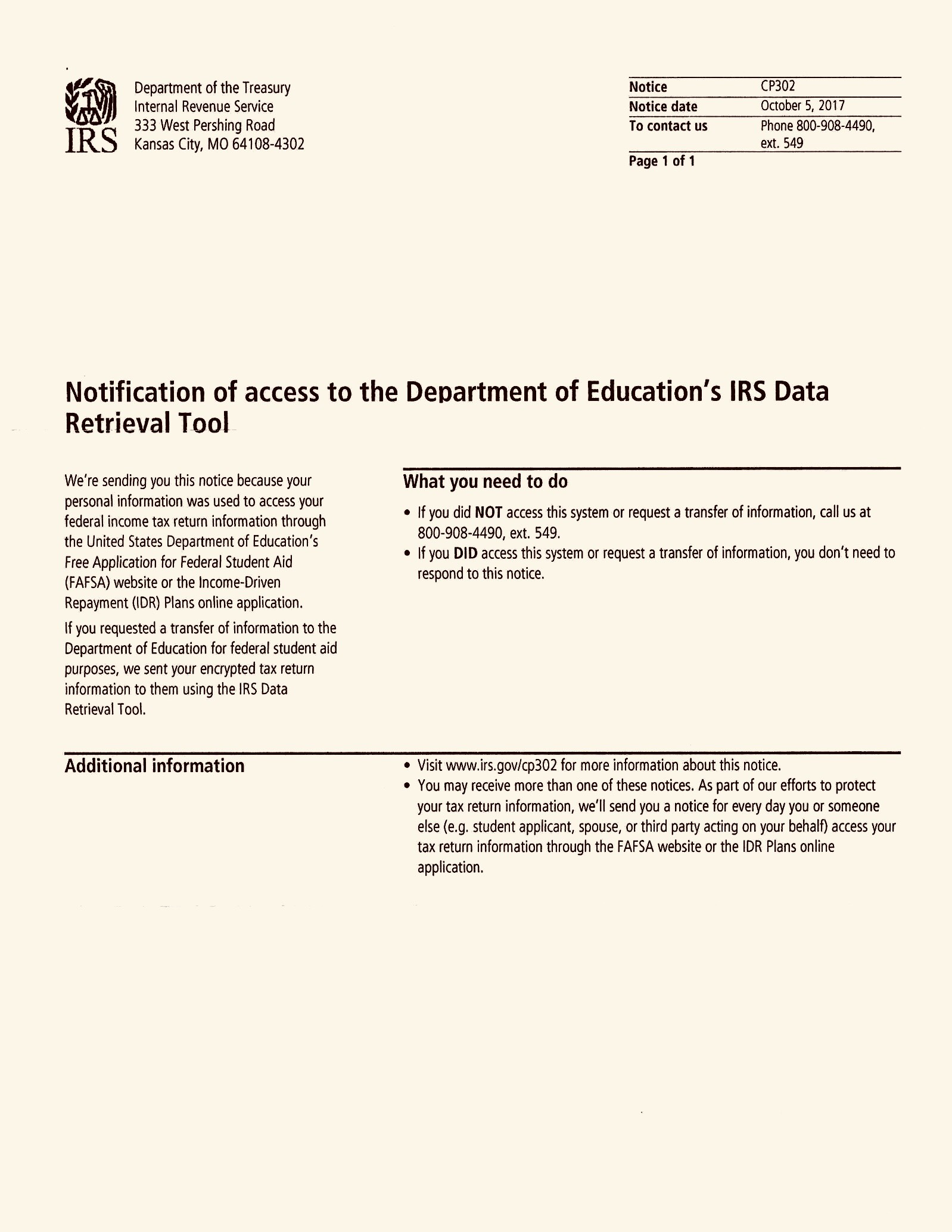 IRS Data Retrieval Tool for FAFSA   Notification Letter